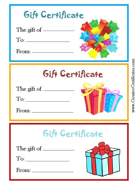 generic gift certificate template free printable gift certificate templates for birthday