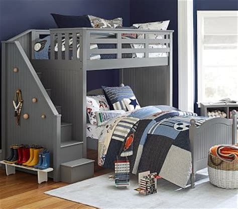 catalina stair loft bed  bed set pottery barn kids