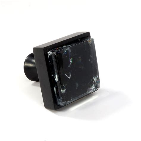 Black Glass Drawer Pulls by Glass Black Metal Square Knob Modern Cabinet