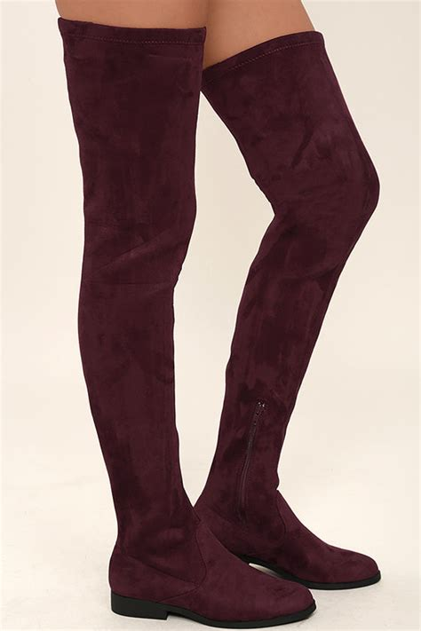 lfl rank boots thigh high boots burgundy vegan suede