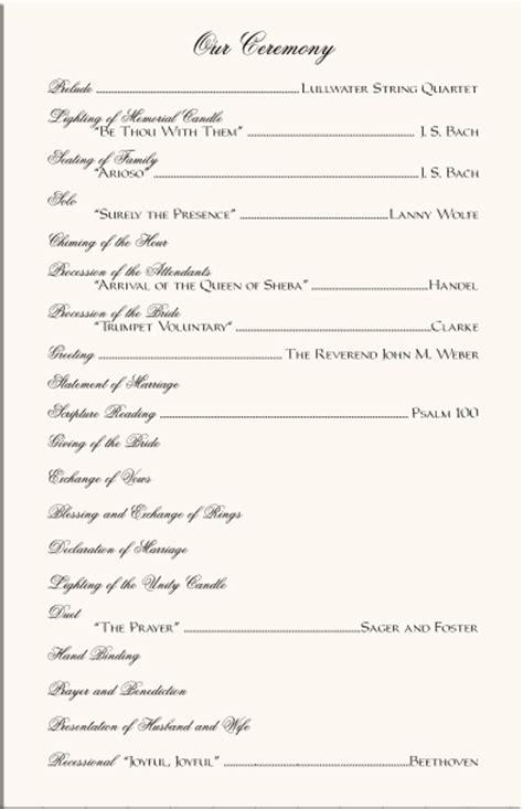 Best Photos Of Sle Wedding Ceremony Program Exles Sle Wedding Program Templates Free One Page Wedding Ceremony Program Template