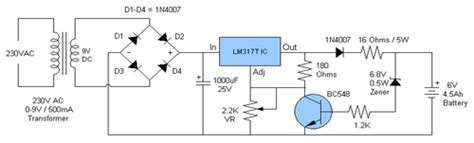 6v automatic battery charger circuit make a 6v 4ah automatic battery charger circuit without