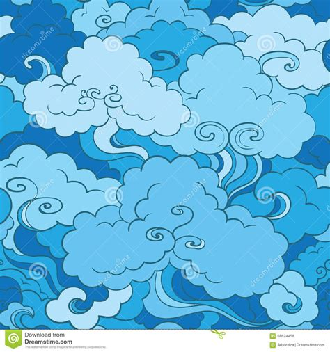 japanese pattern vector illustration traditional asian seamless pattern with clouds stock