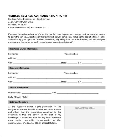 authorization release form 9 sle vehicle release forms sle templates