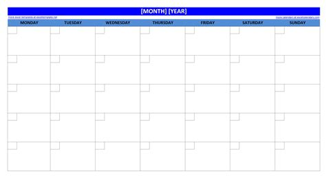 printable blank monthly calendar excel templates