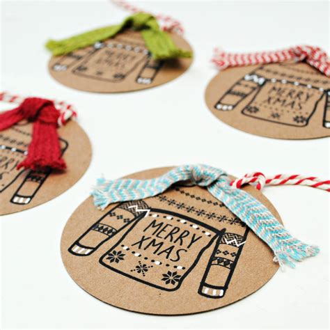 Handmade Gift Tag - set of four handmade gift tags with scarves by papergravy