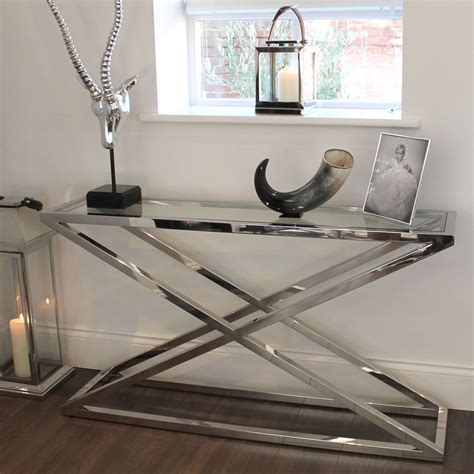 glass and chrome sofa table chunky chrome glass console table console
