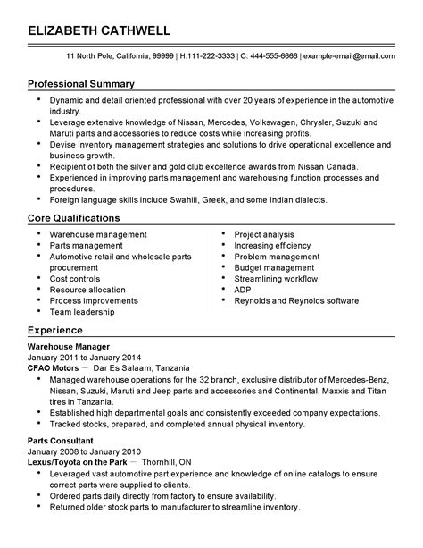 Inventory Manager Resume by Professional Automotive Inventory Manager Templates To