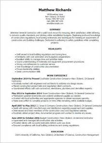 Contractor Resume Template by Professional General Contractor Templates To Showcase Your