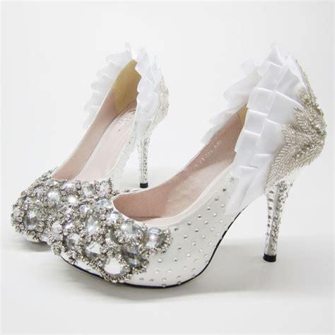 high heel closed toes platform rhinestone white wedding