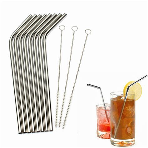 Metal Straw Cleaner 8 pcs stainless steel metal straw reusable straws