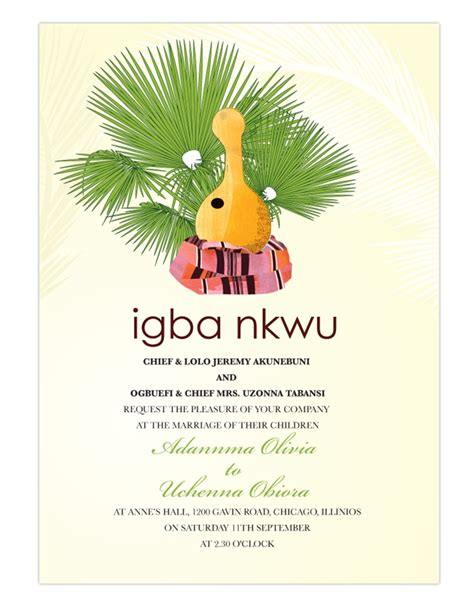 Nigerian Traditional wedding invitation Card, Igbo