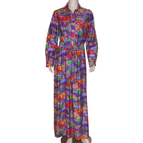 Maxi Motif vintage 1970 s serbin of florida maxi dress asian motif from karensfinds on ruby