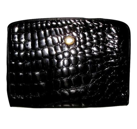 Koobas Antique And Ebany Mackenzie Embossed Clutches by Luxury Vintage Emilio Pucci Alligator Embossed Black