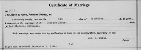 Putnam County Ohio Marriage Records Genealogy Data Page 75 Notes Pages