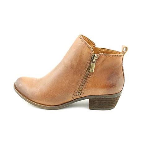 womens leather ankle boots lucky brand basel leather brown ankle boot boots