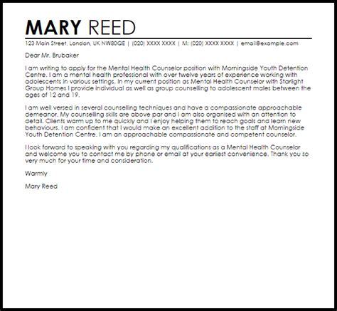 Mental Health Counselor Cover Letter   Experience Resumes