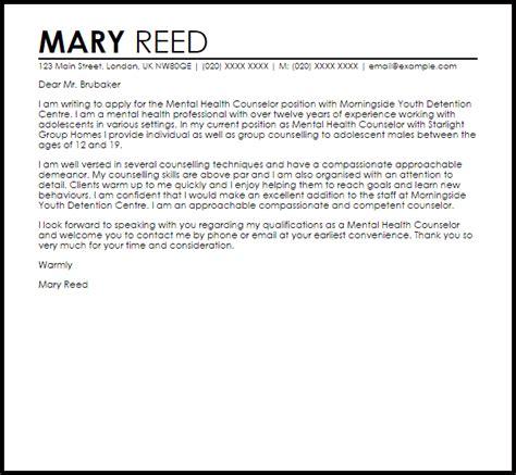 Mental Health Counselor Cover Letter Sample   LiveCareer