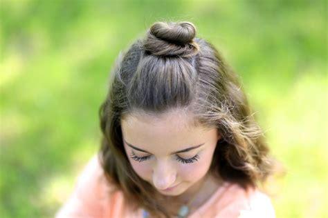 cute half bun hairstyles diy half up bun cute girls hairstyles
