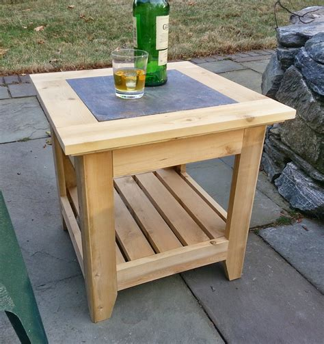 Handmade Cedar Patio Side Table With A Tile Inlay Cedar Patio Table