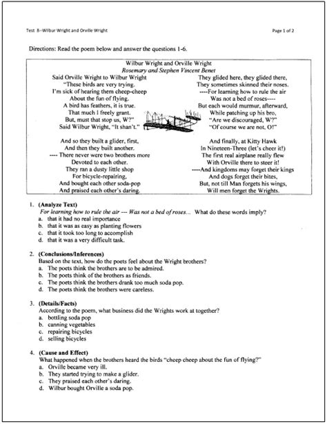 reading comprehension test with answer key pdf 10 free reading tests for students in grades 5 through 9
