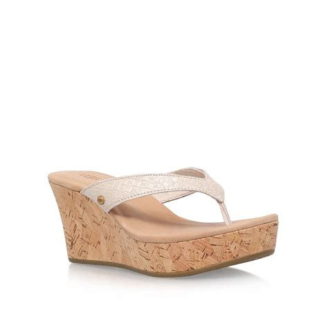 ugg boots wedge heel ugg natassia high wedge heel sandals in lyst