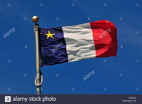 acadian flag iles de la madeleine stock photo