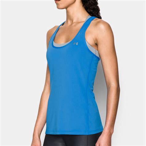 Singlet Fitnes Underarmour armour heatgear womens blue sleeveless running vest tank top singlet
