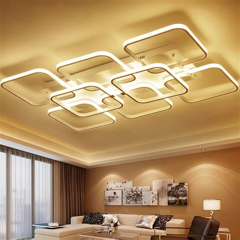 Aliexpress Com Buy Square Surface Mounted Modern Led Living Room Lighting Fixtures