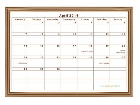 kalender april  met weeknummers en feestdagen  excel