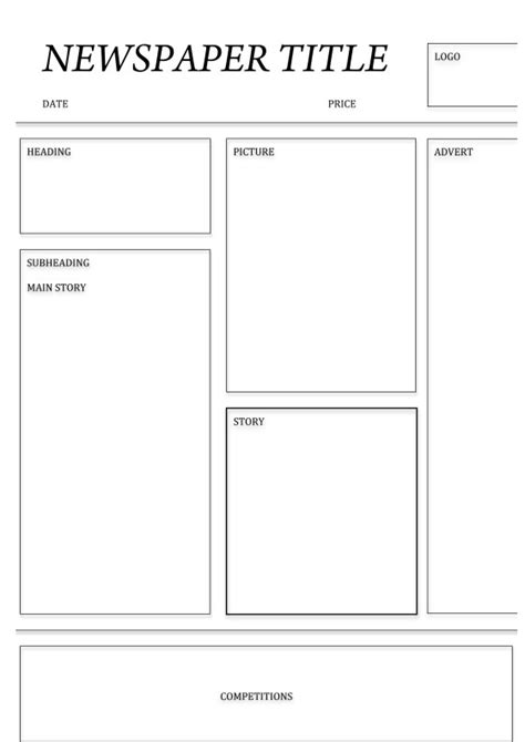 free printable newspaper article template for students