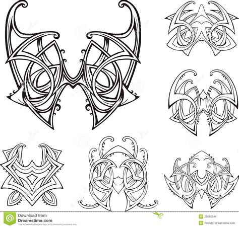 symmetrical tribal tattoos symmetric tribal knot tattoos stock vector illustration