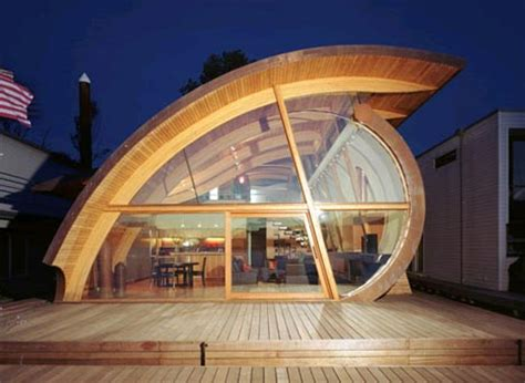 organic wood wave floating home design