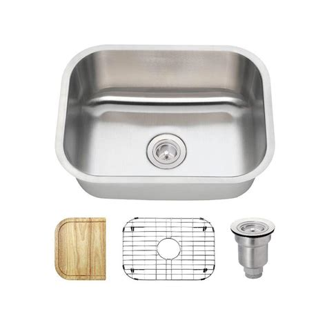 Undermount Single Bowl Kitchen Sink Mr Direct Undermount Stainless Steel 24 In Single Bowl Kitchen Sink Us1042 The Home Depot