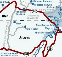 page arizona map dennis s blogs horseshoe bend and paria