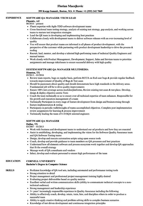 sle resume for software test engineer with experience qa tester resume sle selenium software software testing