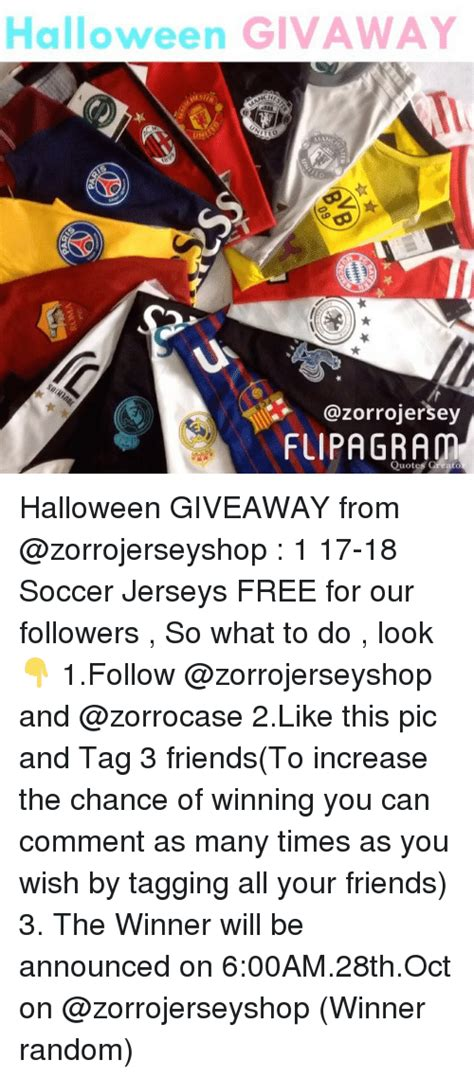 Soccer Jersey Giveaway - halloween givaway fuipagram quotes greato halloween giveaway from 1 17 18 soccer