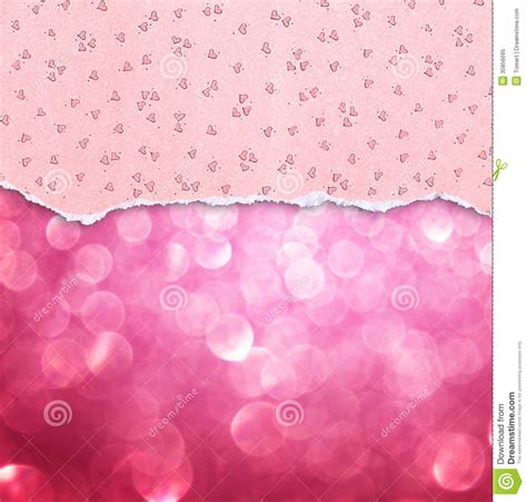 pattern over background pink torn paper with hearts pattern over pink bokeh