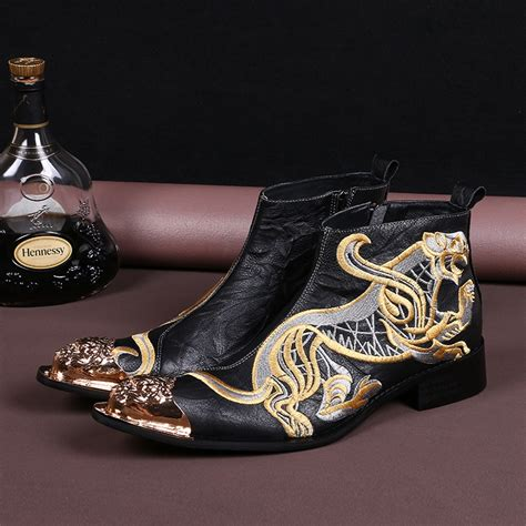 gold embroidery boots genuine leather wedding