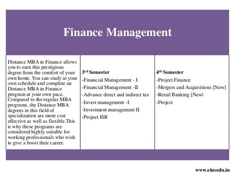 Mba Finance Study Material Free by Distance Mba In Finance Management From Welingkar