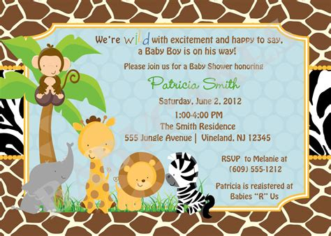 baby shower invitations safari theme wording safari