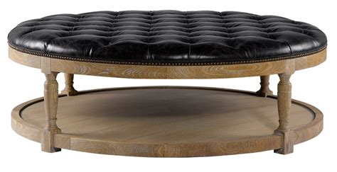 round leather and wood ottoman round tufted leather coffee ottoman 7801 1109 curations