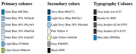 light blue color names css guide for the blue cheese theme implementers drupal