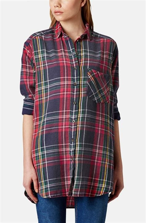 Topshops Cotton Checked Holdall by Topshop Oversized Plaid Cotton Shirt Where To Buy How