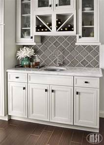 Gray Backsplash Kitchen white kitchen with moroccan tile backsplash beneath the openshelves