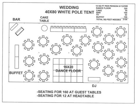 wedding reception floor plan template tent layout 150 to 200 people