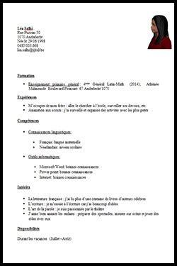 Modele Cv Pour Etudiant by Exemple D Cv Etudiant