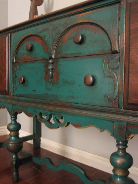 chalk paint vintage furniture european paint finishes peacock green sideboard