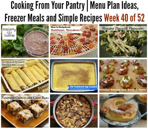 cooking from your pantry menu plan ideas freezer meals