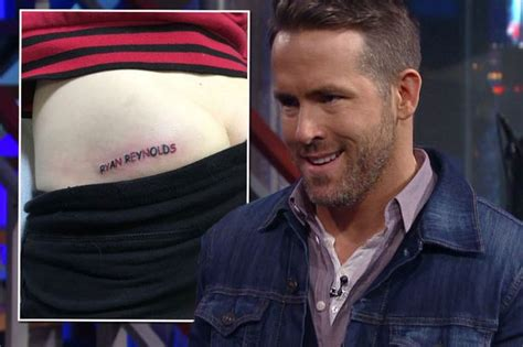 ryan reynolds leg tattoo deadpool fan gets name tattooed on his bum